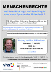 "vhs-Vortrag ""Menschenrechte - auf dem Rückzug..."""