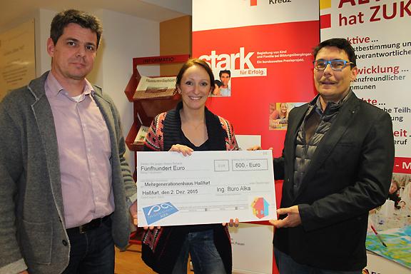 Ing.-Büro Alka spendet EUR 500 an das Mehrgenerationenhaus