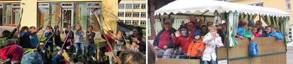 Am Lagerfeuer gegrilltes Stockbrot ließen sich die Kinder gut schmecken - Highlight der Woche war die Indianer-Kutschfahrt in Mechenried