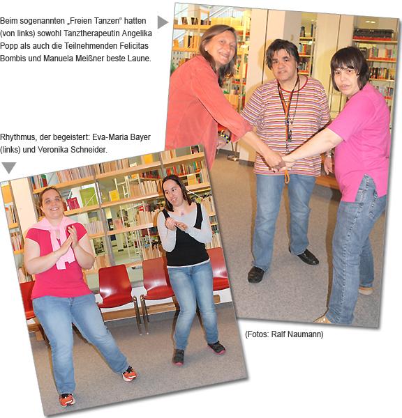 """Beim sogenannten """"Freien Tanzen"""" hatte (von links) sowohl Tanztherapeutin Angelika Popp als auch die Teilnehmenden Felicitas Bombis und Manuela Meißner beste Laune. -- Rhythmus, der begeistert: Eva-Maria Bayer (links) und Veronika Schneider. (Fotos: Ralf Naumann)"""