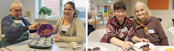Praxisnaher Einsatz der Berufsschüler beim intergenerativen Back- und Bastelprojekt im MGH