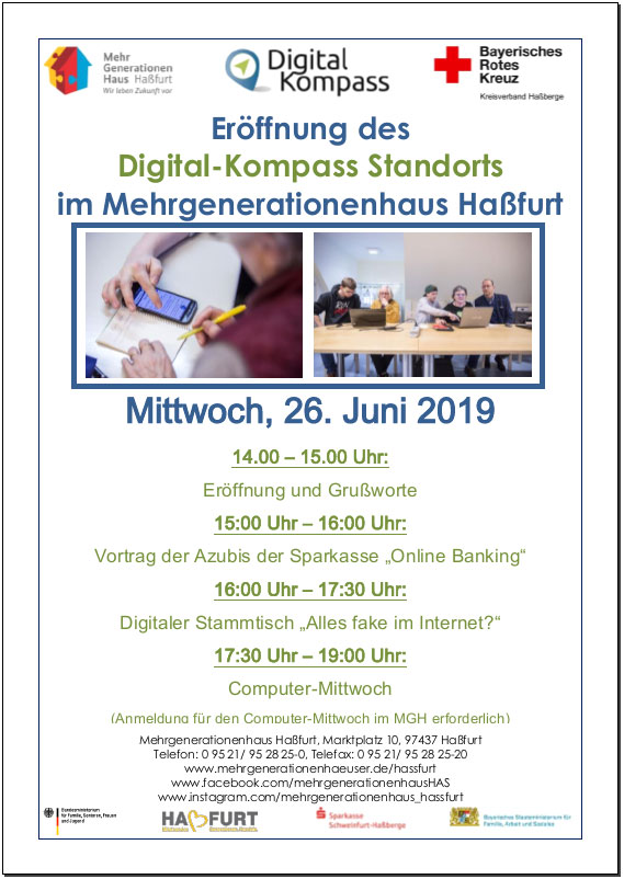 Flyer zur Eröffnung des Digital-Kompass Standorts