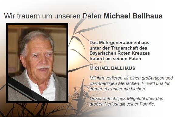 Wir trauern um unseren Paten Michael Ballhaus