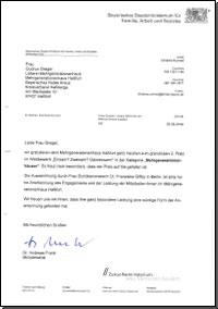 Glückwunschschreiben von Dr. Andreas Frank