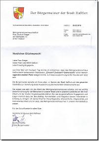 Glückwunschschreiben zur Preisverleihung - 1. Bürgermeister Günther Werner